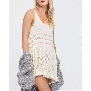 Free People Voile Lace Trapeze Dress Tea Combo L